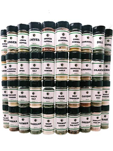 Premium | Ultimate Pantry SEASONING, HERB, SPICE and SPECIALTY SALT Set | 40 Count | Everything Your Kitchen Needs!