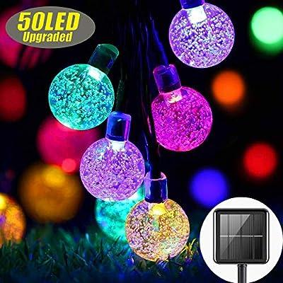 Solar Garden Lights Outdoor Waterproof, 50LED Globe Fairy Lights, 8 Mode 7M/24Ft Indoor/Outdoor Solar String Lights for Garden Patio Yard Home Christmas Parties Wedding (Multi-Coloured)