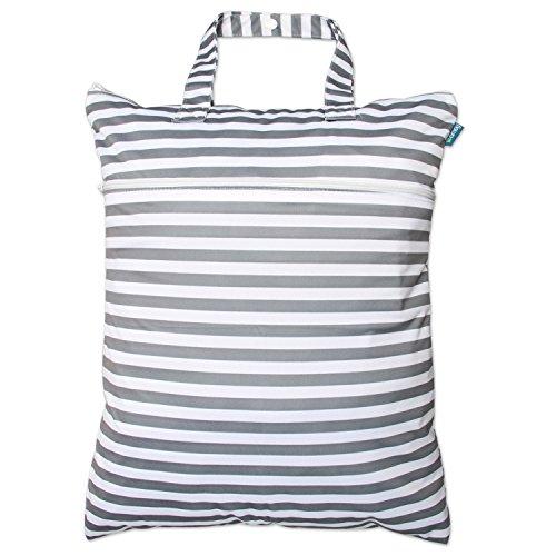 Teamoy Bolsa de pañales para Bebé Bolsa Impermeable para Ropa Organizador, Accesorios de Bebé con dos compartimentos, Raya Gris