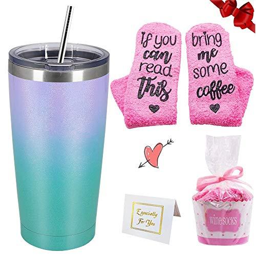Bicchiere termico + set regalo calzini caffè, bicchiere doppio sottovuoto in acciaio inossidabile sfumato da 20 once con coperchio e cannuccia, tazza da viaggio all'aperto