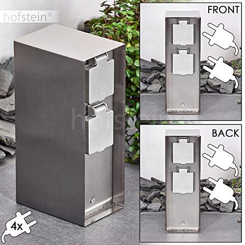 Außensteckdose Abilene, Gartensteckdose aus Metall in Edelstahl/Grau mit 4 Steckdosen und Klappdeckeln zur Festinstallation, Mehrfachsteckdose für draußen, IP 44