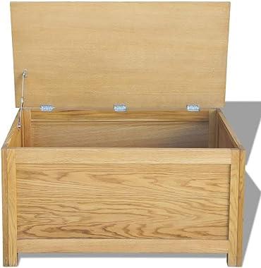 vidaXL Solid Oak Wood Storage Box Chest Rustic Wooden Blanket Pillow Trunk
