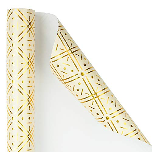WRAPAHOLIC Wrapping Paper Roll - Gold Foil Geometric Design for Birthday, Wedding, Holiday, Baby Shower Wrap - 30 inch x 16.5 feet