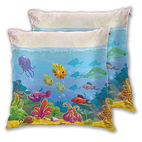 Butlerame Pillowcases Funny Cartoon Style Underwater Scenery With Various Animals And Treasure Chest Sets With High-End Pillowcases,20X20Inch