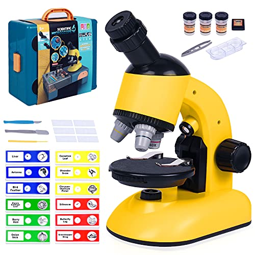 G.C Microscope Kit for Kids 8-12, Kids Microscope Science Kits LED 40X-1200X Magnification Educational STEM Toys for Beginner Students with Carring Box Platform Boys Girls Gift