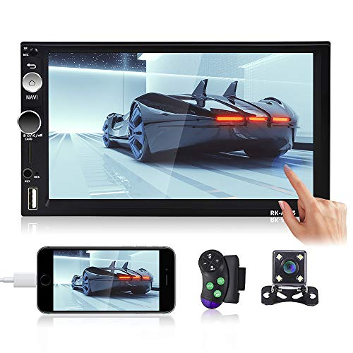 Double Din Android Car Stereo, 7 inch Touch Screen Car Radio Bluetooth FM, Support GPS Navigation/WiFi/Android & iOS Mirror Link Dual USB Input&Sub-woofer+Rear View Camera (Quard Core 1GB +16GB)