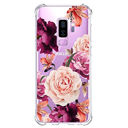 Galaxy S9 Plus Case for Girls Clear with Red Flower Pattern Design Shockproof Protective Cute Floral Back Cover for Samsung Galaxy S9 Plus 6.2 Inch Women Flexible Slim Fit Soft Cell Phone Cases