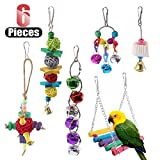 Hilitchi 6 Pcs Birds Toys Hanging Hammock Bell Swing Chewing Toys for Parrots, Parakeet, Conure, Cockatiel, Mynah, Love Birds Small Parakeet Cages Decorative Accessories