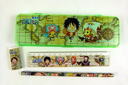 Kawaii Manga Style Stationery Plastic Pencil Case, Pencil, Rubber and Ruler Set - Green