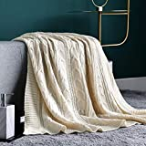 JINCHAN Throw Blanket Ivory Lightweight Cable Knit Sweater Style Year Round Gift Indoor Outdoor Travel Accent Throw for Sofa Comforter Couch Bed Recliner Living Room Bedroom Decor 50x60 Inch