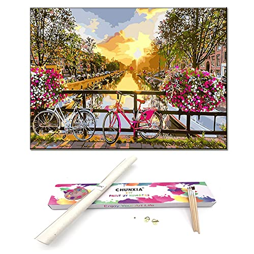 CHUNXIA DIY Oil Paint by Numbers for Adults and Kids,Rolled Canvas,16x20 Inch Creative Enterntainment Relax Canvas Painting Bridge River Sunset ZTY002-8315
