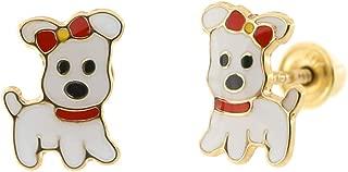 14k Yellow Gold Enamel Petite Puppy Dog Safety Screwback Stud Earrings