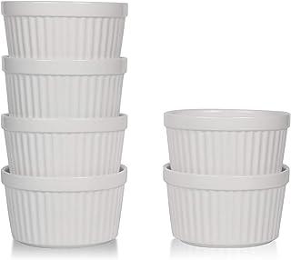 amHomel Porcelain Souffle Dishes Ramekins Bakeware Set, 8 OZ Baking Cups Creme Brulee and Ice Cream, Set of 6, White