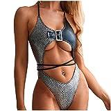 Cuero Monokini Bikinis Mujer, Dragon868 Piel de Cocodrilo Vendaje...
