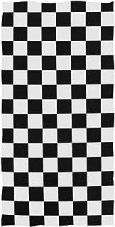 black and white checkered bath towels
