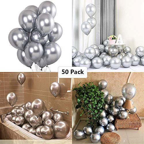 Luftballons Silber Metallic, 50 Stück Silberne Luftballons Helium, Silberballons Latexballons Partydeko Ballons für Geburtstag Hochzeit Silberhochzeit Graduierung Babydusche Weihnachten JGA Party Deko
