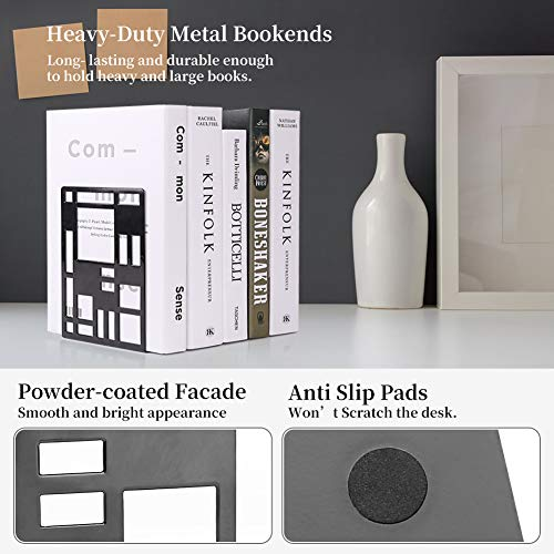 Book Support,Metal Bookends for Shelves Decorative Black Book Ends for School Home Heavy Duty Book Stopper Non Skid Sturdy Bookend Supports,Modern Bookend Holder for Office Kitchen with 1 Card Holder Photo #3