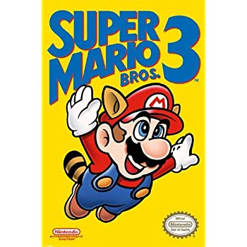 Amazon Com Super Mario Bros 3 Nintendo Gaming Poster Nes Cover Mario Flying Size 24 Inches X 36 Inches Posters Prints
