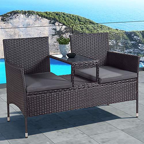 ArtLife Polyrattan Gartenbank Monaco schwarz – 2-Sitzer Bank mit integriertem Tisch & Kissen in Grau – 133 × 63 × 84 cm – Sitzbank wetterfest - 2