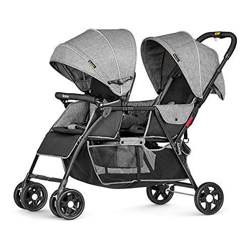 Besrey Silla de paseo gemelar plegable, carrito gemelos doble, silla Carrito gemelar, ligera y compacta con Barrera