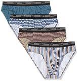 Dim Slip 100% Coton 3+1 Pantalones, Multicolor (Imprime Eclipse/Gris Souris/Imprime Rayé/Imprime Géométrique 9hf), Large (Talla del Fabricante: 4) (Pack de 4) para Hombre