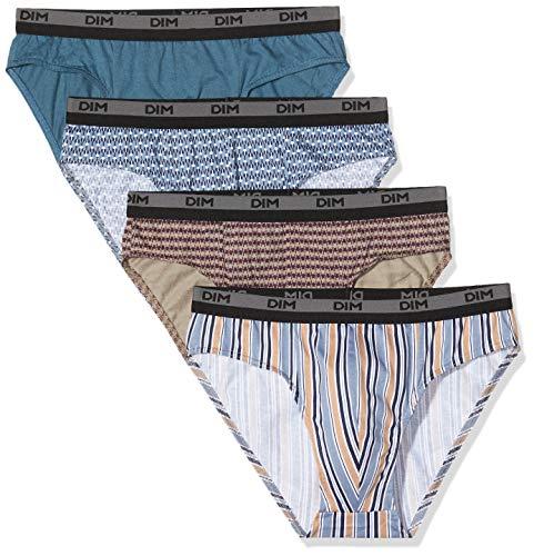 Dim SLIP 100% COTON 3+1, Multicolore (Imprime Eclipse/Gris Souris/Imprime Rayé/Imprime Géométrique 9hf), Large (Taille fabricant:4) (lot de 4) Homme