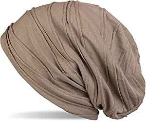 styleBREAKER klassische Beanie Mütze mit Falten Muster, Longbeanie, Unisex 04024053, Farbe:Khaki (One Size)