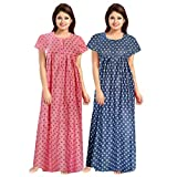 Afreet Fashion Women's Cotton Night Gown Dress (Multicolor) Combo Pack of 2 Peice