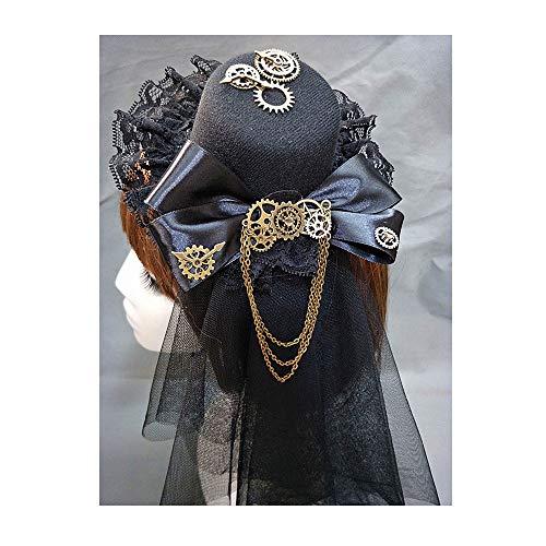 Steampunk Chapeau haut-de-forme Pince à cheveux Halloween Costume accessoire pour cheveux Nœud Gear Chaîne Loli Chapeau