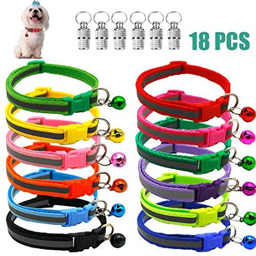 12 Stück Katzenhalsband Katzenhalsbänder und 6 Stück Anhänger mit Sicherheitsverschluss, Katzenhalsband mit Glöckchen, Verstellbar 19-32 cm, Reflektierendes, Halsbänder für Hauskatzen, Kleine Hunde