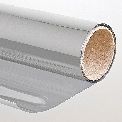 Folien-Gigant 3001501010 zonwerende folie met spiegeleffect, zelfklevend, 152 x 1000 cm, spiegel-/raam-/kleur-/beschermfolie voor ramen, zilver