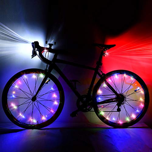 2 Pieces USB Rechargeable Bike Light LED Bicycle Light Front Headlight and Taillight, 4 Light Mode Options and 2 Pieces Bike Wheel Lights Bright Safety Spoke Lights for Bike Decoration Accessories