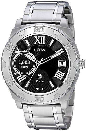 Guess Ace Mens Touch AMOLED Silber Smartwatch - Smartwatches (AMOLED, Touchscreen, 24 h, Silber)