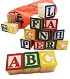 wood alphabet - Skoolzy ABC Wooden Blocks for Toddlers - 30 Wood Alphabet Blocks - Montessori Stacking Letter Preschool Learning Toys - Kindergarten Reading with Travel Tote