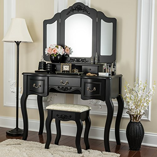 Fineboard Vanity Beauty Station Makeup Table and Wooden Stool 3 Mirrors and 5 Organization Drawers Set, Black