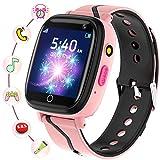 smartwatch bambini - smartwatch telefono con sos gioco musica camera sveglia registratore contatti modificabili, regalo di compleanno per ragazzi e ragazze età 4-12(rosa)