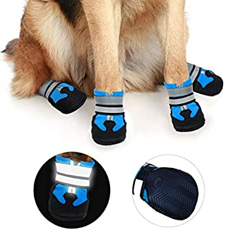 Ewolee Bottes Chien, Botte Protection Chien 4 Pièces Chien Chaussure Respirantes Chausson Antidérapant (L, Lac Bleu)