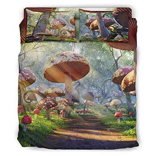 Wandlovers Juego de cama de 4 piezas, diseño de setas de fantasía con impresión solar, para todo el año, funda de edredón y fundas de almohada, color blanco, 240 x 264 cm