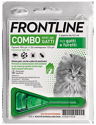 Frontline Combo, 1 Pipetta, Antiparassitario per Gatti, Gattini e Furetti di Lunga Durata, Protegge...
