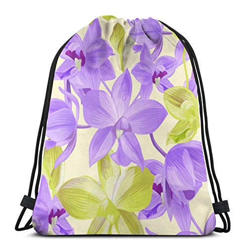 Lsjuee Floral PatternDrawstring Backpack Sports Fitness Backpack Waterproof Men's and Women's Waist Bag Travel Yoga Beach School