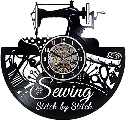 kkkjjj Máquina de Coser Reloj de Pared decoración Negra decoración Moderna Reloj de Pared con Disco de Vinilo Este Reloj Familiares y Amigos en Cualquier ocasión