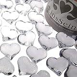 EinsSein ca.95x Dekosteine Funkelnde Herzen klar Dekoration Streudeko Konfetti Tischdeko Hochzeit Diamant Glas