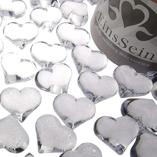 EinsSein ca.95x Dekosteine Funkelnde Herzen 22mm klar Dekoration Streudeko Konfetti Tischdeko Hochzeit Diamanten Diamant Glas groß Geburtstag