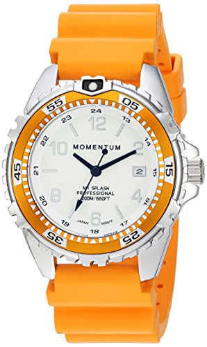 Women's Quartz Watch | M1 Splash by Momentum| Stainless Steel Watches for Women | Dive Watch with Japanese Movement & Analog Display | Water Resistant ladies watch with Date –Lume / Orange Rubber
