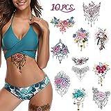 10x Flor romantica Tatuajes temporales para mujeres, Cicatriz de cubrir Maquillaje Tatuajes falsos Arte Corporal Pegatina impermeable Diseño floral rosa para pierna, muslo, pecho, cadera y más