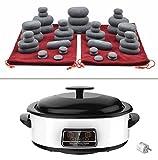 MassageMaster KIT MASSAGE AUX PIERRES CHAUDES: 45 Pierres en Basalte + Appareil Chauffe Pierres Digital de 6 Litres