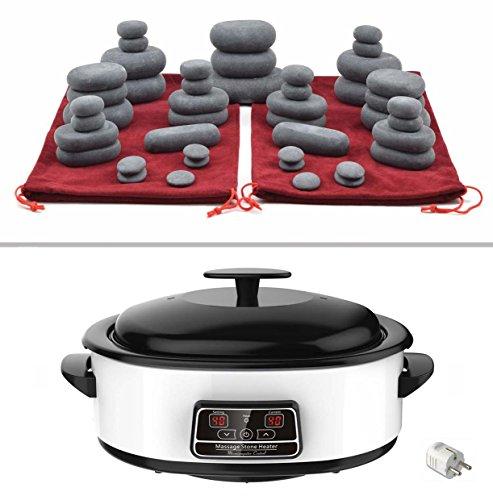 MassageMaster HOT STONE MASSAGE KIT: 45 Basalt Steine in 2 Kordelzugtaschen, Wärmegerät 6 Liter mit digital Temperaturanzeige