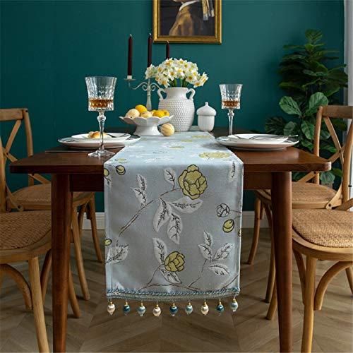 YUNSW Moderno Y Simple Corredor De Mesa De Poliéster Chenilla Engrosada Mesa De Café Decoración Mantel Hogar Zapatero Mueble De TV Mantel con Flecos Largos33*160cm