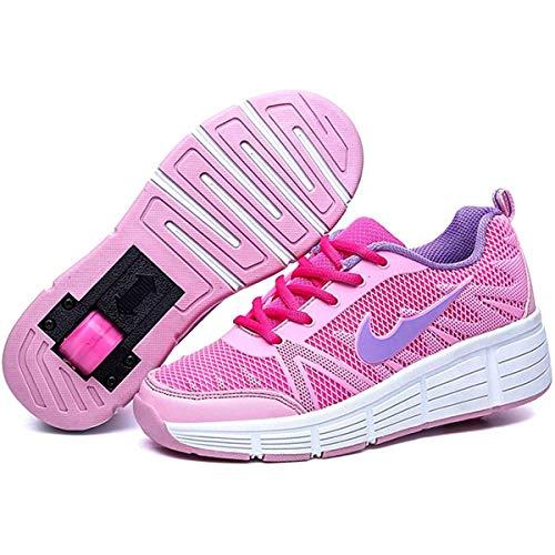 HANHJ Zapatillas De Patinaje sobre Ruedas para Niñas Y Niños con Deportivas Entrenamiento Cordones Zapatos Botón Ajustable Una Rueda,Pink-34
