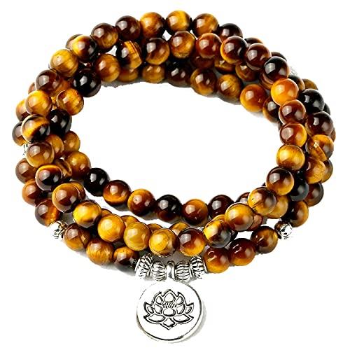6mm Natural A Grade Tiger Eye Stone 108 Mala Beads Bracciale o collana Energy Stone Mediazione yoga per uomini di sesso femminile Dimensione della perla: 6mm